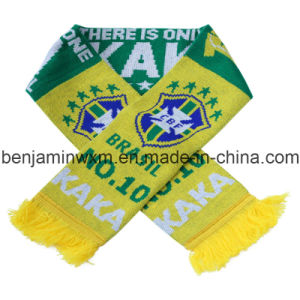 Knitted Jacquard Football Scarf--Brazil Kaka