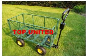 Folding High Side Mesh Metal Garden Carting Trolley