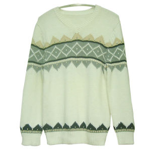 Men′s Knitted V-collar Cotton Sweater (CX-MW-001L)