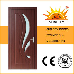 Engineered Used Interior MDF PVC Doors with Glass (SC-P169) pictures & photos