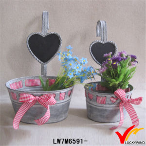 Ribbon Decor Oblong Galvanized Antique Metal Flower Planter pictures & photos