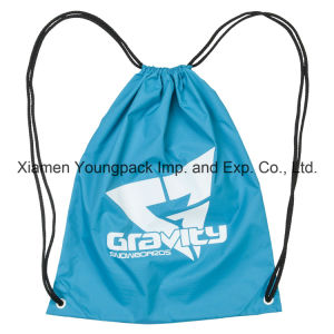Personalized Custom Lightweight Blue Nylon Drawstring Cinch up Backpack pictures & photos