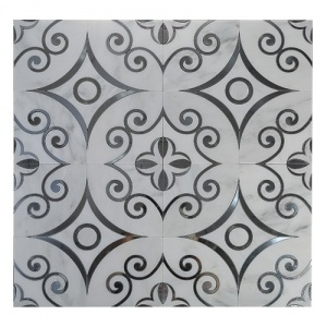 White Color Waterjet Marble Mosaic Designs Living Room Backspalsh Modern Style pictures & photos
