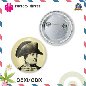 Custom 50mm Printed Iron Logo Tinplate Bottom Button Badge pictures & photos