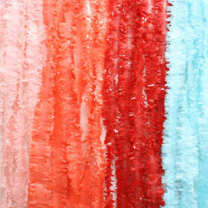Tissue Paper Fringe Garland. Photo Backdrop. Dessert Backdrop. Light Pink, Coral, Red, Sky Blue Tissue Paper Garlands. Tissue Festooning
