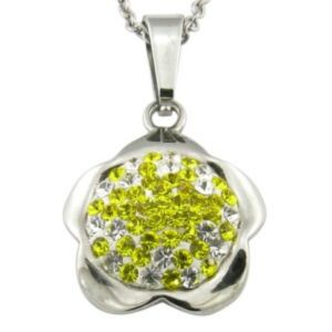 Flower Shape with CZ Shiny Stone Steel Pendant Necklace pictures & photos