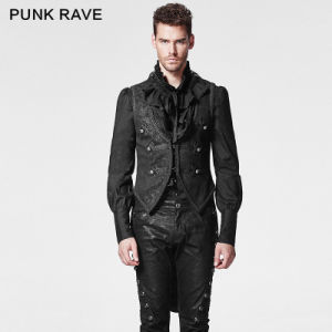 Punk Rave Gothic Swallow Tail Vest with Pressed Flower (Y-600/BK)