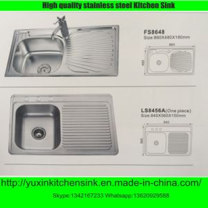 Ss201 Stainless Steel Sinle Bowl Kitchen Sink with Board (FS8648)