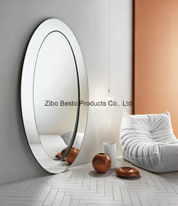 White Oval Wooden Dressing Mirror