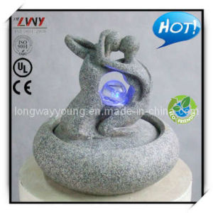 9.5 Inches Granite Color Resin Indoor Table Fountain - Loving (YF3100B-9.5H-LB91)