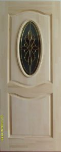 Solid Pine Wood Door with Beautiful Glass