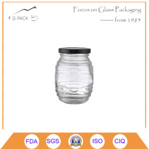Vintage Glass Honey Jar with Black Metal Lid (other color available) pictures & photos