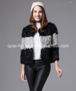 Women′s Winter Warm Contrast Color 100% Lamb Fur Short Coat