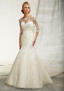 China Embroidery On Net 3 4 Sleeve Wedding Dresses Wma040