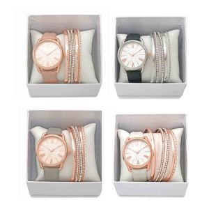 2018 New Elegant And Gorgeous Las Leather Band Watch Bracelet With 4 Bangle Gift Set Rose Gold For Women