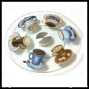 Round Tempered Glass Cake Plate with Base Board