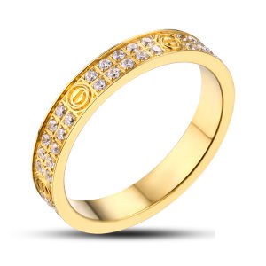Hot Sale Diamond 18k Gold Plated Wedding Ring pictures & photos