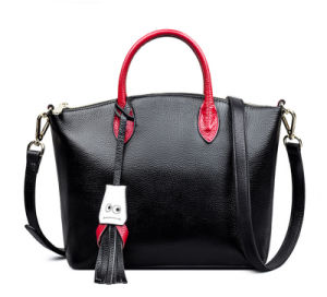 Spring Summer Fashion Genuine Leather European Contrast Color Smilling Face Head Skin Lady′s Handbag