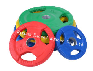 Gym Equipment Fitness Equipment of Tri-Grip Colorful Rubber Coated Olympic Plate