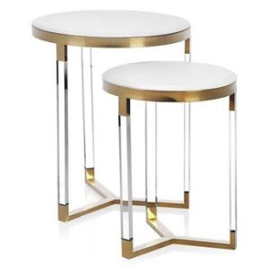 New Fashion Small Mirrored Coffee Table Electroplated Titanium Decorative Side Table Set