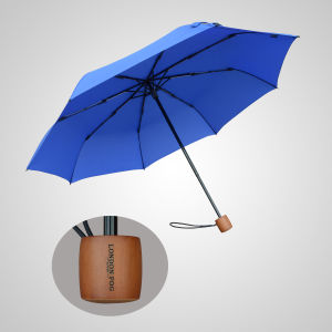 Wooden Handle 3 Fold Manual Protection Rain Umbrella (JF-MMO310)