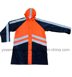 Adult′s Waterproof Rain Coat High Visibility Reflective Safety Protective Apparel Workwear Garments