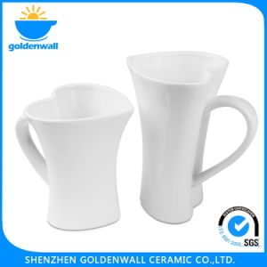 Promotional White Porcelain Coffee Cup with Heart-Shaped pictures & photos