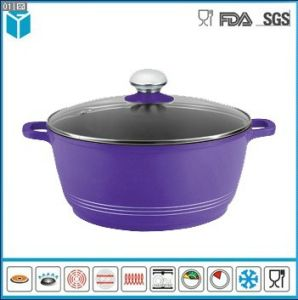 Die Cast Aluminum with Glass Lid Casseroles for Kitchen (Purple