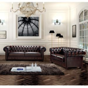 Luxury Italian Leather Vintage Chesterfield Sofa Set MS-06# pictures & photos