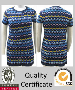 Ladies Knitted Striped Zig Zag Cap Sleeve Sweater