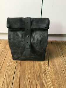 Customized High Quality Waxed Canvas Lunch Bag with Leather Trim