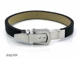 Stainless Steel Jewelry-Fahion Men Leather Bracelet (BR0309)