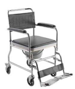 Superior Quality Chromed Steel Frame Commode Wheelchair pictures & photos