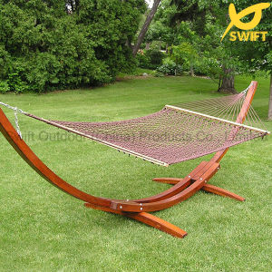 Colorful Cotton Rope Hammock with Wooden Stand