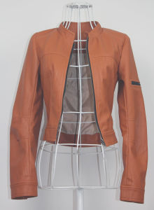 Sand Washed Leather Zip Front Moto Jacket (HSC8046)