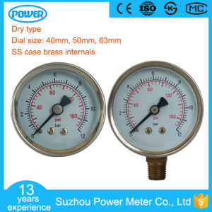 Dial 40mm to 63mm Common Stainless Steel Case Pressure Gauge pictures & photos