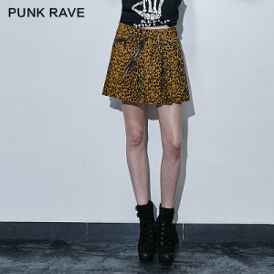 Pleated Style Leopard Grain Sexy Mini Young Teens Skirts (Q-266/BK-YL)