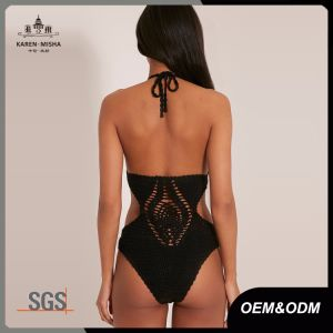 Women Festival Chic Black Crochet Bodysuit pictures & photos