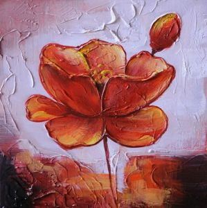 Flower Designs Fabric Painting 100% Handmade Abstract Red Lotus Flower Heavy Texture Oil Painting
