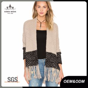Fringed Open Cardigan Sweater for Women pictures & photos