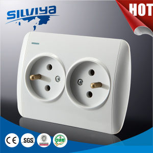 EU Standard Double French Socket with Night Light pictures & photos