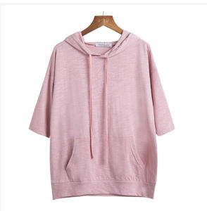 Women 95%Cotton 5%Spandex Pure Color T Shirt with Hood pictures & photos