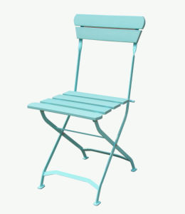 Outdoor Garden Furniture X Cross Rack Classical Metal Folding Chair with Blue Polywood for Patio Restaurant Cafe Backyard Deck