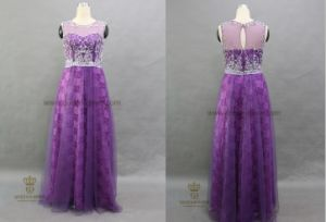 Wholesale Top Quality Crystal Beaded Purple Evening Dress