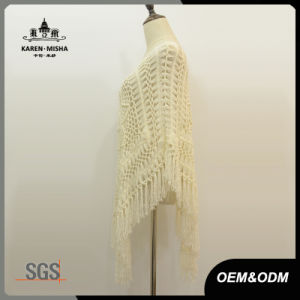 Women Oversized White Flora Crochet Poncho Sweater pictures & photos