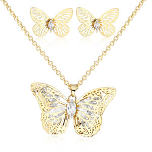 China Butterfly Wholesale Fashion Yellow Gold Jewelry Set In Latest