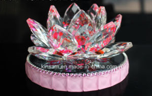 Fashion Pink Crystal Lotus Flower Craft for Gift pictures & photos