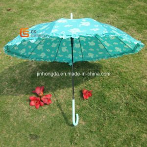 23 Inch Straight Print Fabric with Lace Umbrella (YSS0042)