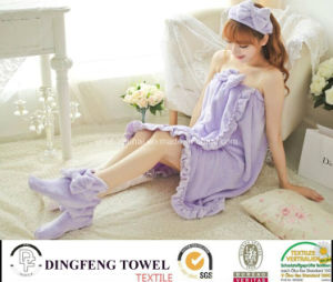 Ladies & Kid Coral Fleece Bath Robe (hair band shoes) pictures & photos