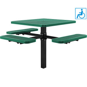 "46""Ada Square in-Ground Picnic Table Top/3 Bench Seats, Expanded Metal"